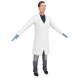 female scientist 3D model