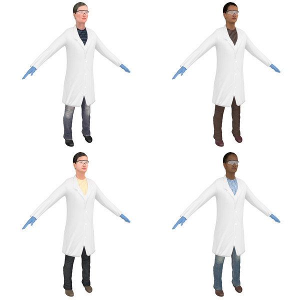 3D pack female scientist