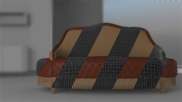 waiting bench leather 3D