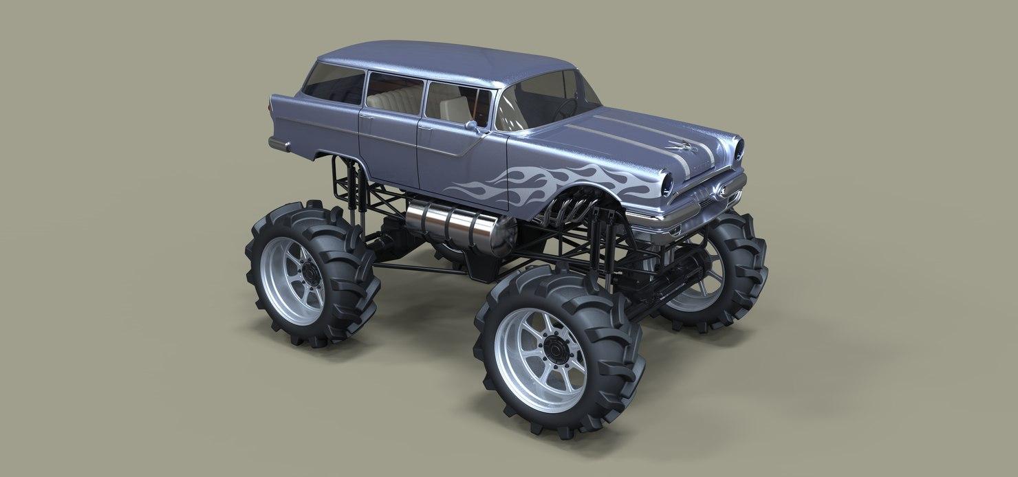 3D model pontiac truck monster