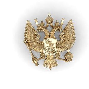 russian two-headed eagle coat 3D model
