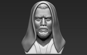 3D kenobi bust ready printing model