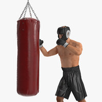 Boxer with Punching Bag 3D Model