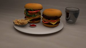burgers french fries 3D model