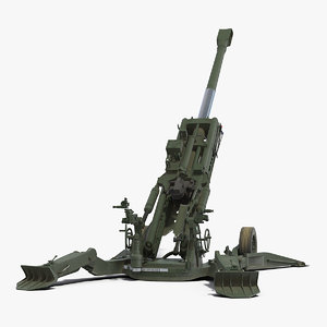 3D model howitzer m777 155mm rigged