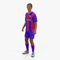3D soccer football player barcelona