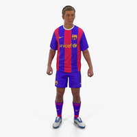 Soccer or Football Player Barcelona Rigged 2 3D Model