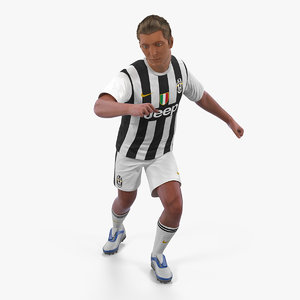 3D soccer football player juventus