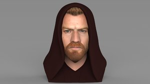 3D model kenobi bust ready color