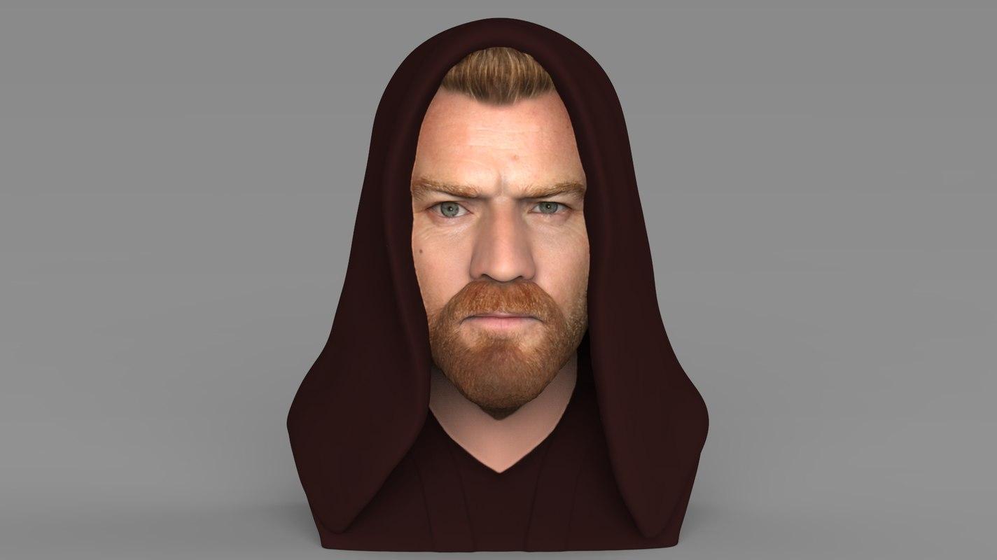 3D model kenobi bust ready color