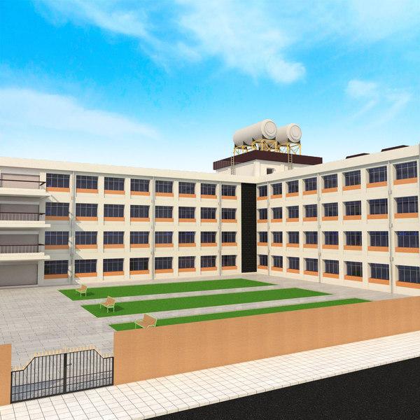 3D japanese anime school model