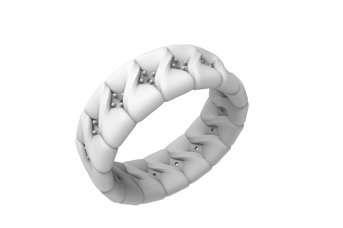 3D women ring stones model