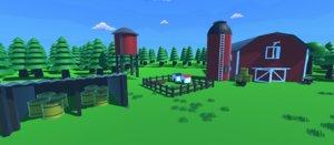 3D model farm barn interior