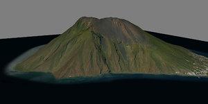 mesh stromboli vulcan island 3D model