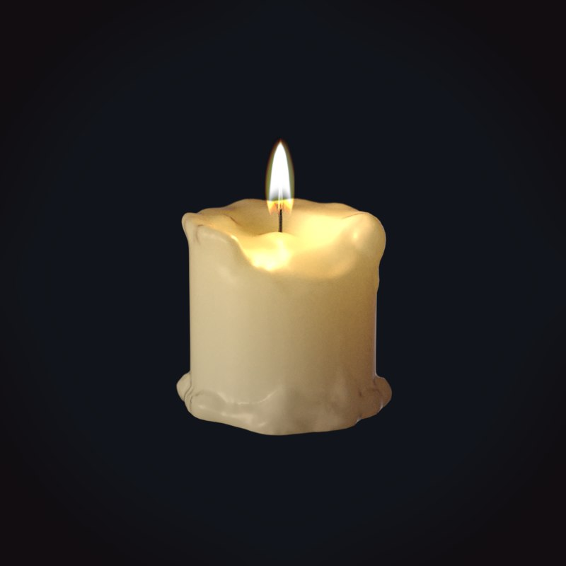 wax candle 2 medieval 3D model