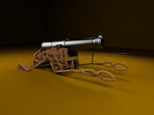 british 68-pound naval gun 3D model