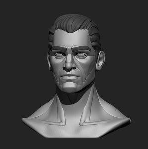 3D model male head base mesh