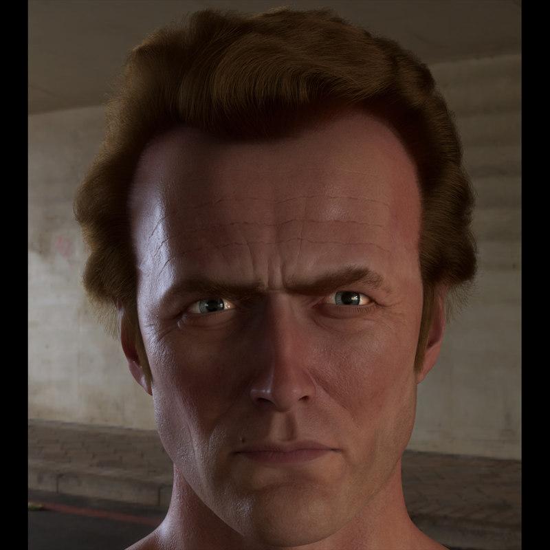 3D head clint eastwood hair model