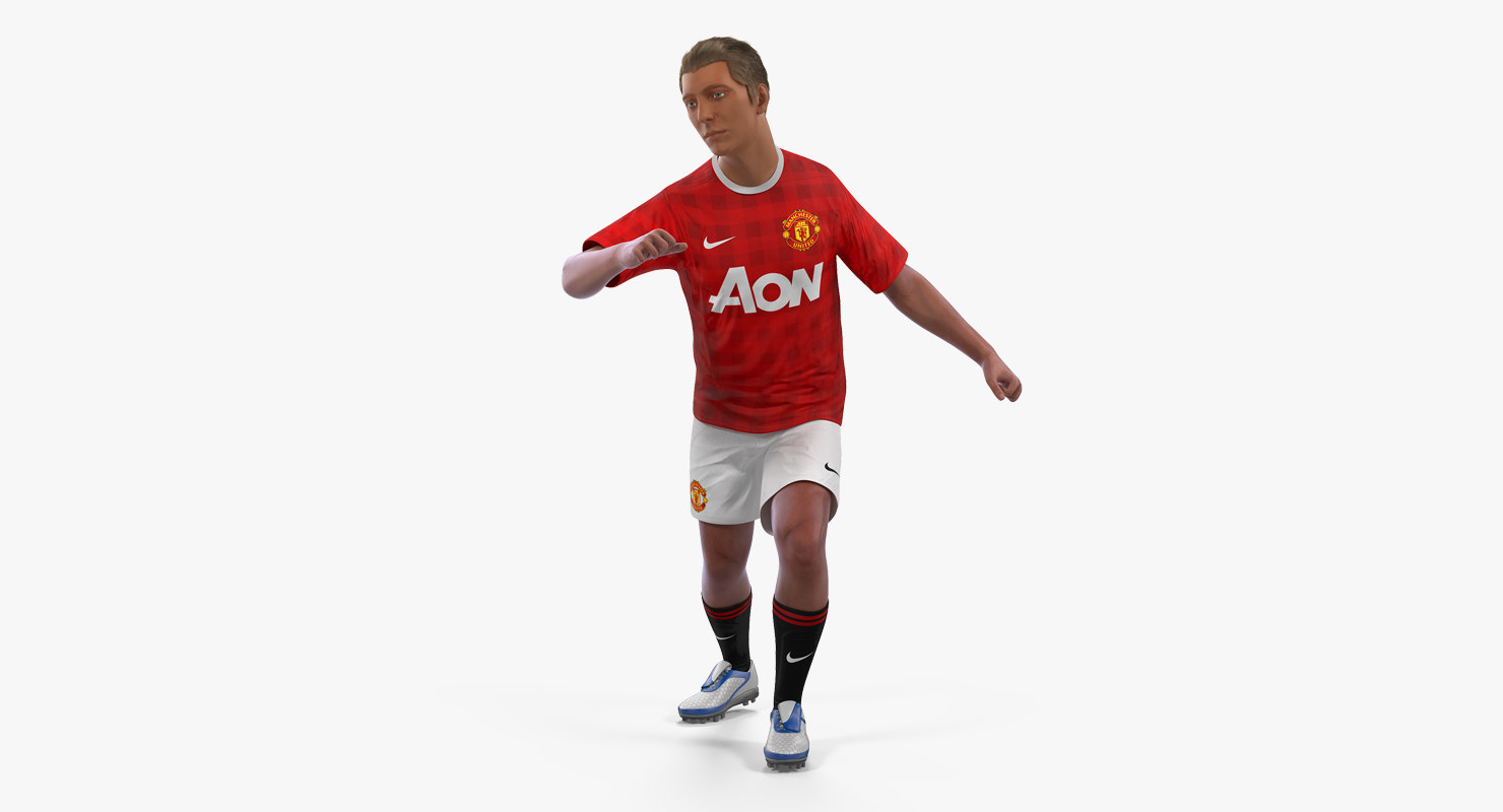 3D soccer football player united