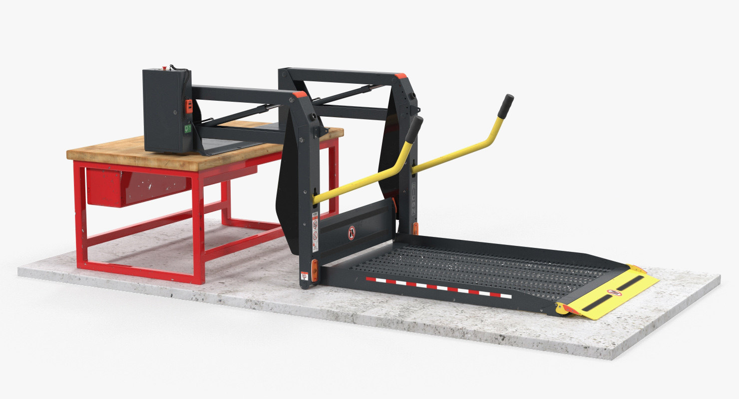 hydraulic wheelchair lift rigged 3D model