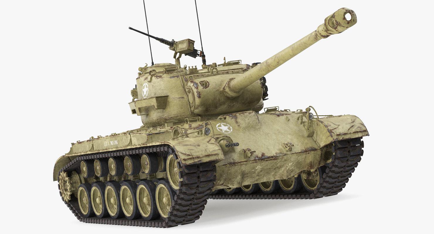 medium tank pershing m26 3D model
