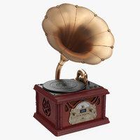 vintage retro style gramophone 3D model