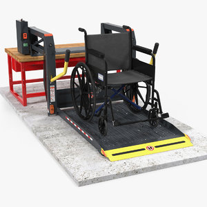 wheelchair hydraulic lift rigged 3D