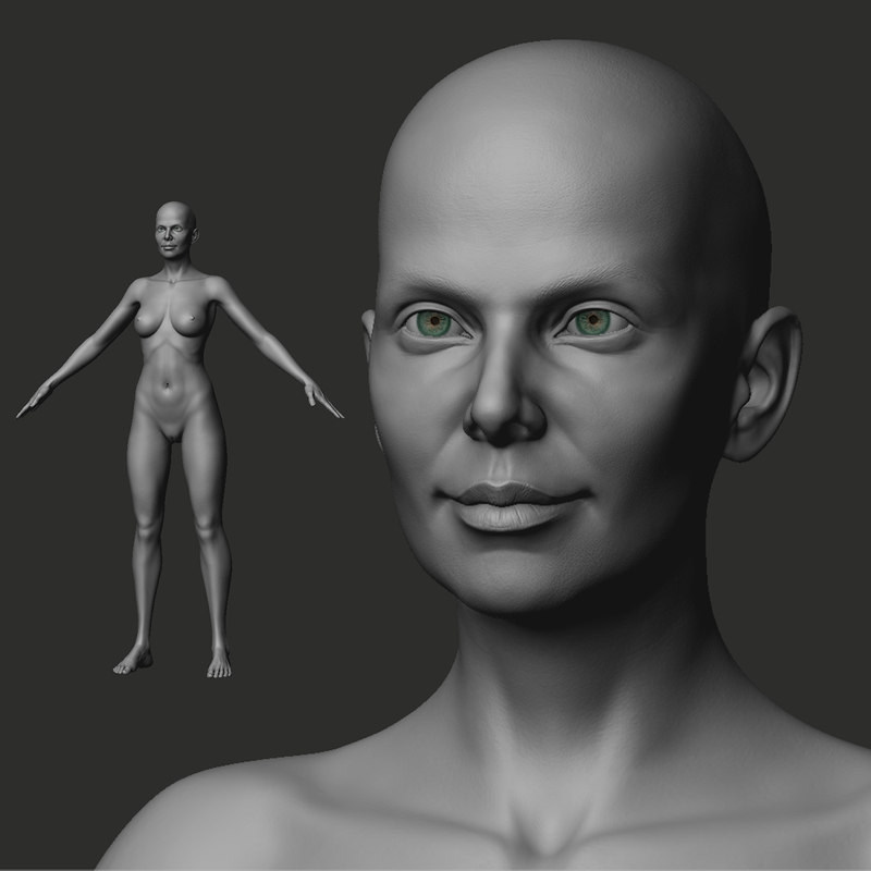 emily female base mesh 3D model