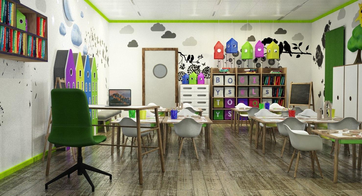 children s classroom 3D model