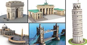 3D model london european famous landmarks