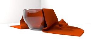 glass bowl cloth napkin 3D model