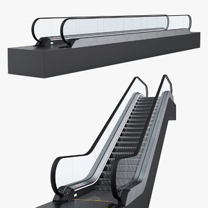 escalator moving walkway rigged 3D model