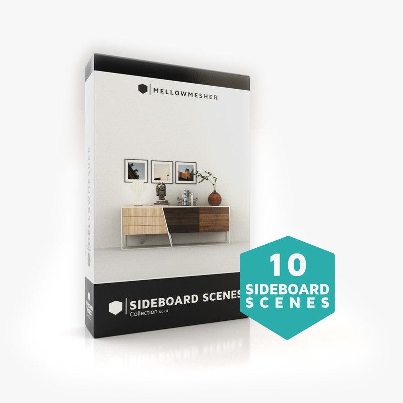 sideboards boxes vases 3D model