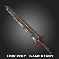 3D low-poly short sword