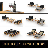 3D wooden outdoor furniture garden model