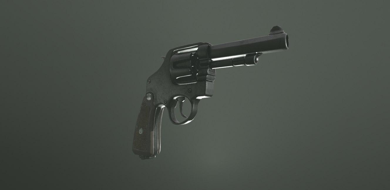 gun revolver pistol 3D model