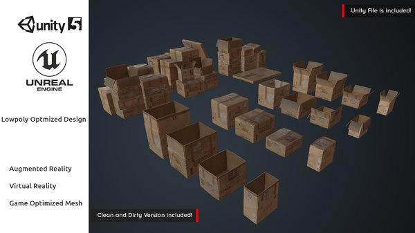 cardboard boxes pack vr 3D model