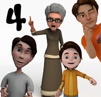 4 Cartoon Characters Rigged  (Boy1,Boy2,Teenager, Grandma)