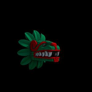 quetzalcoatl head serpiente 3D