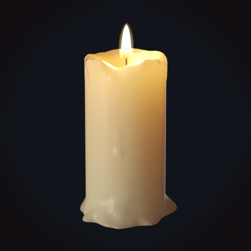 3D wax candle 5 medieval