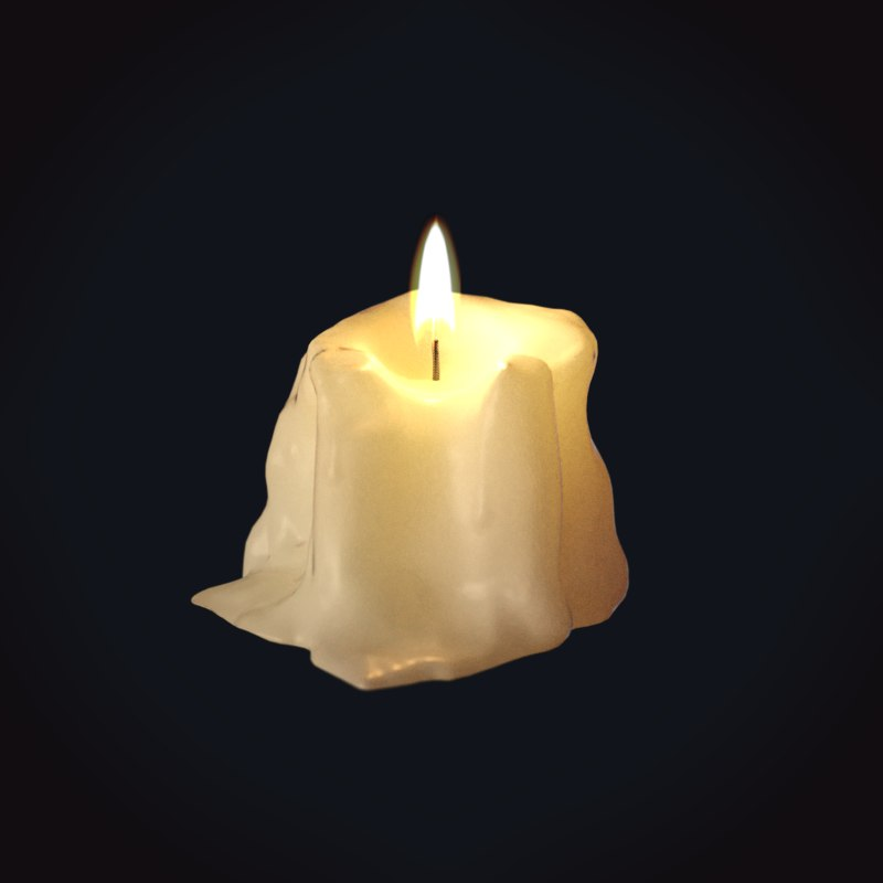3D model wax candle 6 medieval