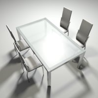 realistic table chairs 3D model