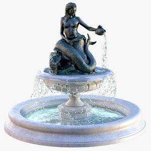 3D mermaid fountain model