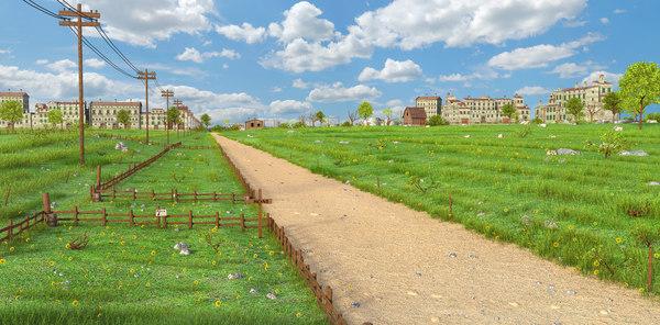 landscape meadown 3D model