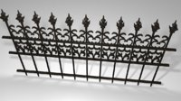 3D model black old railing