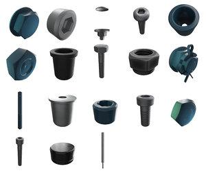 3D screws bolts