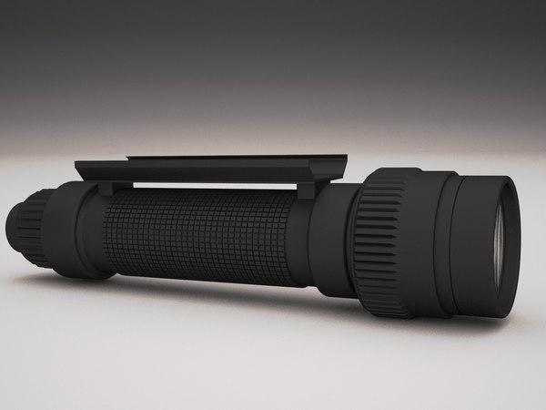 3D model flashlight machine gun