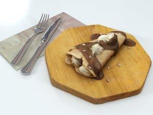 3D pancake chocolate crepe