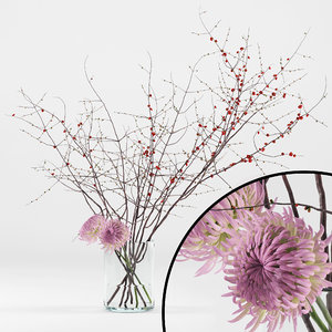 realistic chrysanthemums prunus branches 3D model