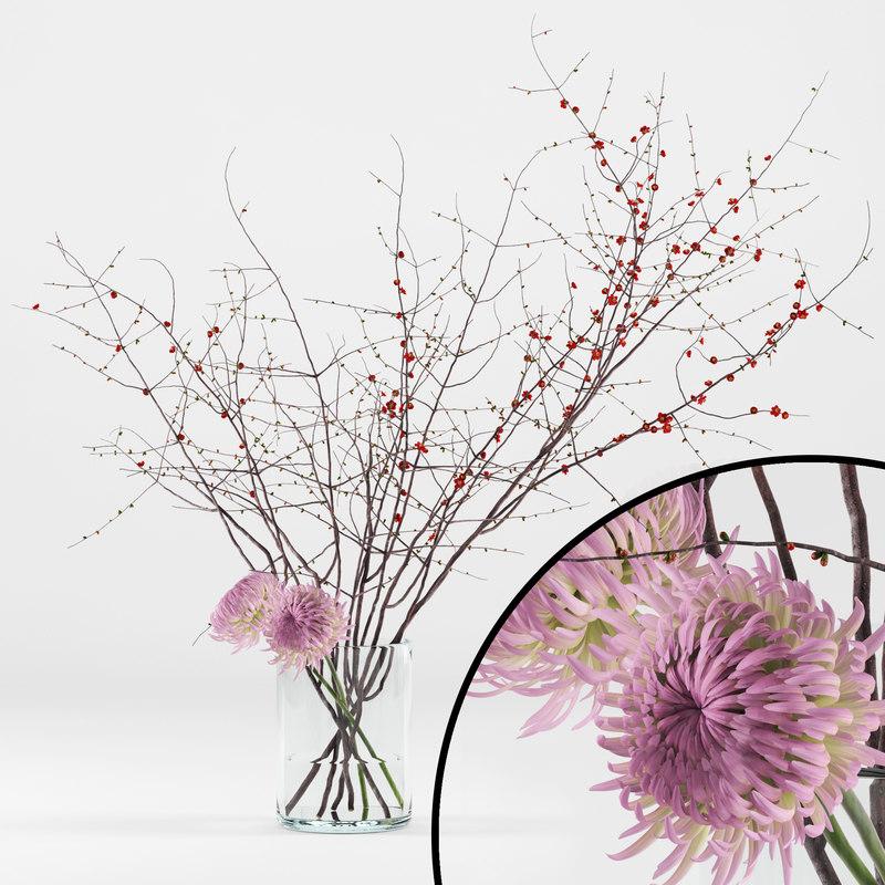 realistic chrysanthemums prunus branches 3D model